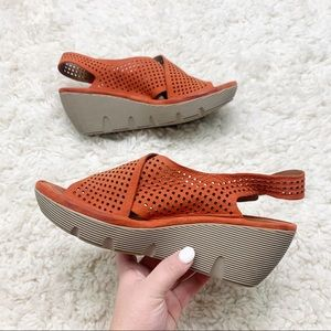 Clarks | Artisan Suede Perforated Leather Wedges